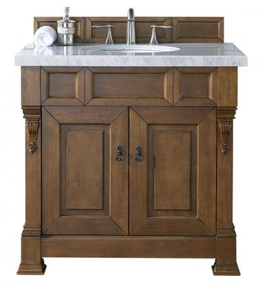 "James Martin Brookfield Collection 147-114-5571- 36"" Country Oak Single Vanity with Two Soft Closing Doors, Backsplash, Hand Carved Filigrees and"