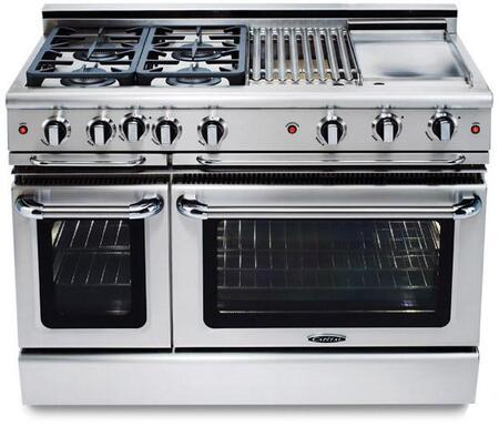 """Capital GCR488N 48"""" PRECISION Series Natural Gas Freestanding Range with 8 Sealed Burner Cooktop 4.6 cu. ft. Primary Oven Capacity 