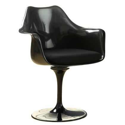 """Modway EEI-205 Lippa 19.5"""" Dining Chair with Modern Design, ABS Plastic Chair, Cloth Cushions and Aluminum Base in Black with"""