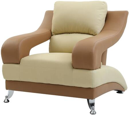 Glory Furniture G250C Faux Leather Armchair with Metal Frame in Beige and Light Brown
