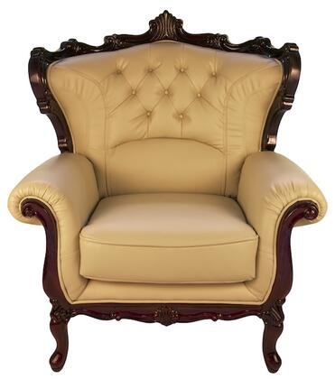 J. Horn 2128IVORYC 2128 Series Leather Armchair with Wood Frame in Ivory