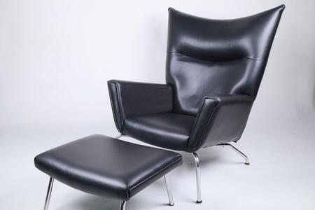 Fine Mod Imports FMI9233BLACK Wing Series Modern Leather Chaise Lounge