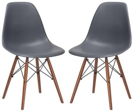 EdgeMod EM105WALGRYX2 Vortex Series Modern Wood Frame Dining Room Chair