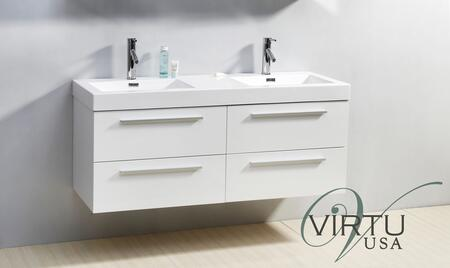 "Virtu USA JD-50754-XX Finley 54"" Double Sink Bathroom Vaniety with Polymarble Top and Integrated Basin, 4 Drawers, PS-103 Faucets and in X Finish"