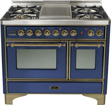 Ilve UMD1006MPBLY Majestic Series Dual Fuel Freestanding Range with Sealed Burner Cooktop, 2.44 cu. ft. Primary Oven Capacity, Warming in Blue