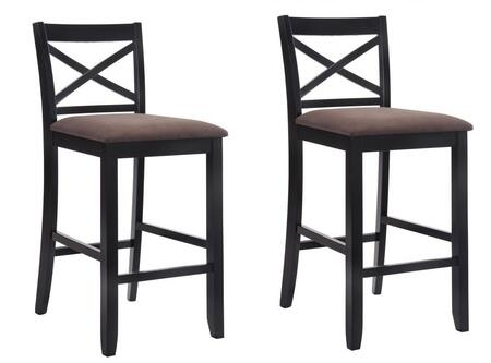 """Acme Furniture Tobie Collection Set of 2 30"""" Bar Chairs with Fabric Seat Cushion, Wooden """"X"""" Backrest, Footrest Support, Square Legs and Solid Rubberwood Construction in"""