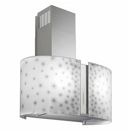 """Futuro Futuro ISxMURORIONLED """" Murano Orion Series Range Hood with 940 CFM, 4-Speed Electronic Controls, Delayed Shut-Off, Filter Cleaning Reminder, Internal Whisper-Quiet Tangential Blower, and in Stainless Steel"""