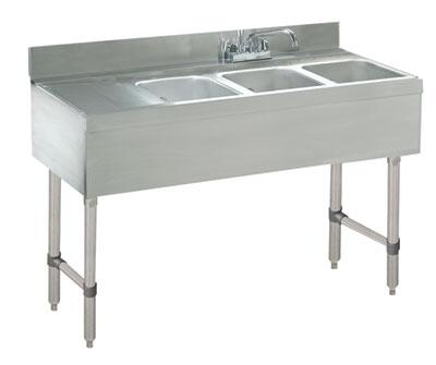 "Advance Tabco CRB-43 Lite Series Three-Compartment Underbar Sink with 4"" Backsplash, Drainboards and 12"" Deck Mounted Faucet in Stainless Steel"