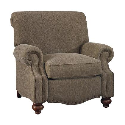 "Bassett Furniture Club Room Collection 3991-3FC/FC118-x 43"" Recliner with Fabric Upholstery, Antique Brass Nail Head Trim and Traditional Style in"