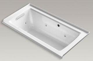 "Kohler K-1947-LW Archer 60"" x 30"" Alcove Whirlpool Bath Tub with Bask Heated Surface, Integral Flange and Left-Hand Drain in"
