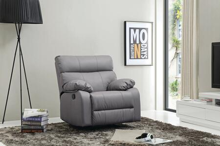 "Glory Furniture G53 Collection 37"" Rocker Recliner with Pub Back, Removable Plush Padded Arms and Faux Leather Upholstery in"