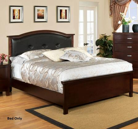 Furniture of America Crest View CM7599X Bed with Contemporary Style, Padded Leatherette Headboard and Solid Wood with Replicated Wood Grain in Brown Cherry Finish