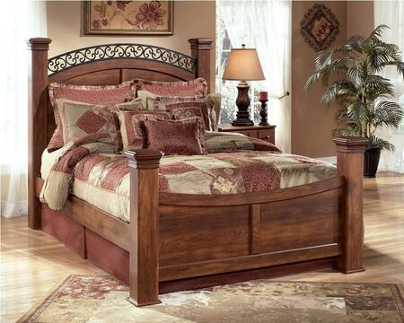 Signature Design by Ashley Timberline Collection B258-POSTERBED Traditional Style X Size Poster Bed in Warm Brown