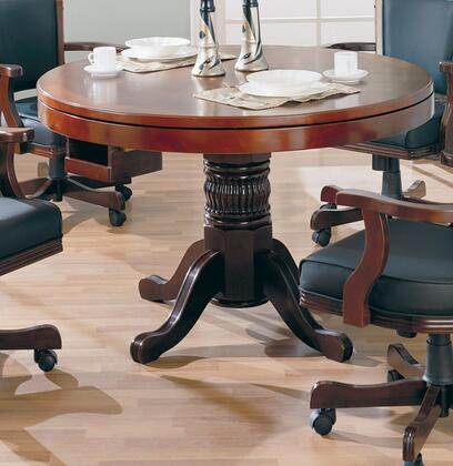 """Coaster Mitchell 47.5"""" 3-in-1 Game Table with Carved Details, Pedestal Base, Flip Top, Cup Holders, Chip Trays and Wood Construction in"""
