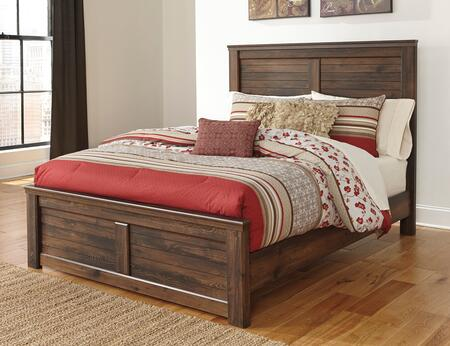 Signature Design by Ashley B246PNLBD Quinden Size Panel Bed with Horizontal Slat Details, Framed Panels and Replicated oak Grain in Dark Brown Finish