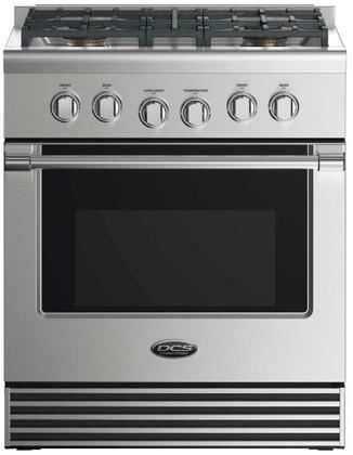 """DCS RDV2304 30"""" Dual Fuel Range with 4 Sealed Dual Flow Burners, 4 Cu. Ft. Oven Capacity, 5 Shelf Positions, Flat Vent Trim, and 6 Oven Functions: Stainless Steel"""