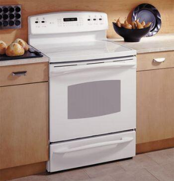 GE JB988TKWW  Electric Freestanding Range with Smoothtop Cooktop, 5.3 cu. ft. Primary Oven Capacity, Storage in White
