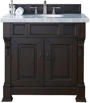 "James Martin Brookfield Collection 147-114-5561- 36"" Burnished Mahogany Single Vanity with Two Soft Closing Doors, Backsplash, Hand Carved Filigrees and"