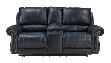 "Signature Design by Ashley Milhaven 633094 79"" Reclining Loveseat with Double Recliners, Console, Nail Head Trim, Rolled Arms, Jumbo Stitching, PU Leather and Fabric Upholstery in"