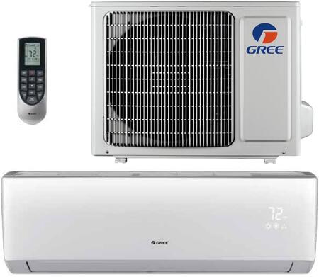 Gree LIVSxHP230V1B Single Zone Mini Split System with Cooling and Heating Capacity, 230/208 Volts, in White