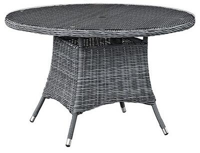 Modway Summon EEI19 Round Outdoor Patio Dinng Table with Tempered Glass Top, Umbrella Hole, Aluminum Tube Frame, Water and UV Resistant in Grey Color