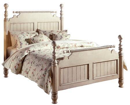 Hillsdale Furniture 1172B Wilshire Poster Bed with Rails, Turned Posts, Turned Legs, Molding Detail and Solid Pine Wood Construction in Antique White Finish