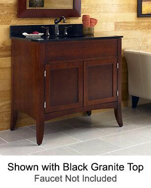 "Kaco Metro Collection 385-3000 30"" Sink Vanity with Flared Legs, 2 Doors, Brushed Nickel Hardware and Water Resistant Brown Cherry Finish with Granite Top"