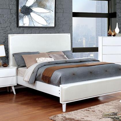 Furniture of America CM7387WHCKBED Lennart II Series  California King Size Panel Bed