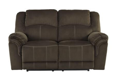 "Signature Design by Ashley 957046 Quinnlyn 67"" Reclining Loveseat with Jumbo Stitching, Metal Frame and Fabric Upholstery in Coffee Color"
