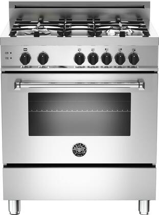 "Bertazzoni Master MAS304GASXET 30"" Gas Range With 4 Aluminum Burners, 18,000 BTUs Power Burner, and 3.6 cu. ft. Convection Oven, in Stainless Steel"