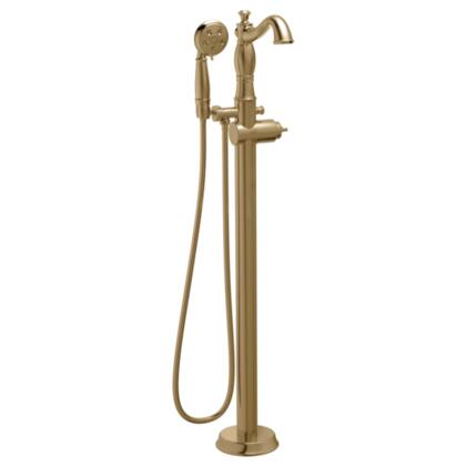 Cassidy T4797-CZFL-LHP Delta Cassidy: Traditional Floor-Mount Tub Filler Trim with Hand Shower - Less Handle in Champagne Bronze
