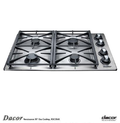 Dacor RGC304SNG Renaissance Series Natural Gas Sealed Burner Style Cooktop, in Stainless Steel