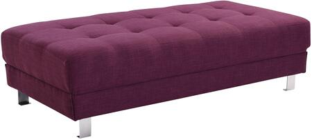 "Glory Furniture Milan Collection 57"" Ottoman with Tufted Design, Chrome Metal Legs and Twill Fabric Upholstery in"