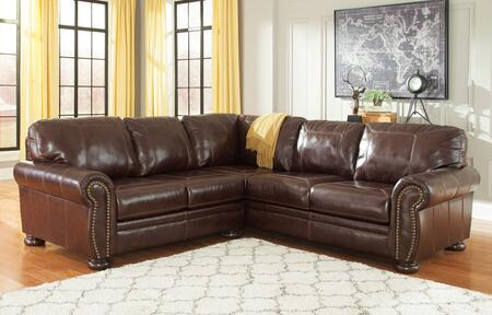 Signature Design by Ashley Banner 50404SEC2PCXLS 2-Piece X Arm Loveseat Sectional Sofa with Nail-Head Trim, Bun Feet and Jumbo Windowpane Stitching in Coffee