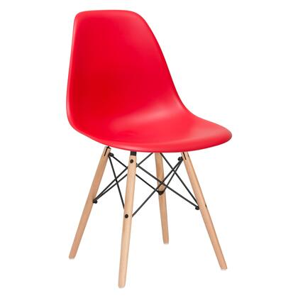 EdgeMod EM105NATRED Vortex Series Modern Wood Frame Dining Room Chair