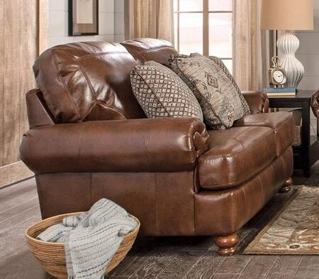 "Jackson Furniture Southport Collection 4367-02- 70"" Loveseat with Wooden Tuned Legs, Faux Leather Upholstery and Decorative Trapunto Stitching in"