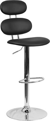 "Flash Furniture 40"" - 48"" Barstool with Gas Lift Adjustable Height, Mid-Back Design, Swivel Seat, Footrest, Chrome Base and Vinyl Upholstery in"