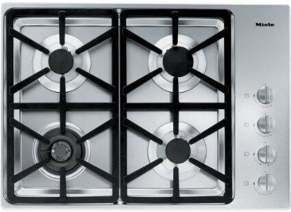 "Miele KM3464 30"" XX Cooktop with 4 Sealed Burners, Total BTU Output of 45,300, Wok Burner, Fast Ignition System, Simmer Function, Automatic Re-ignition, and Stainless Steel Finish and Frame"