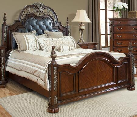 Cosmos Furniture Rosanna Collection ROSANNA XBED Size Bed with Upholstered Headboard, Decorative Finials, Wood Construction, Molding and Carved Detailing in Cherry