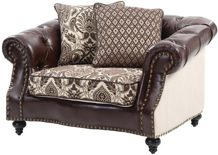 Glory Furniture G811C Faux Leather Armchair with Wood Frame in Dark Brown and Cream