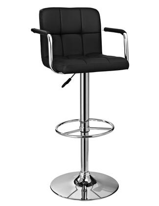 Powell 171X Quilted Adjustable Bar Stool, with Gas Lift Seat, 300 lbs. Capacity, Contemporary Design, and Faux Leather Upholstery in Chrome