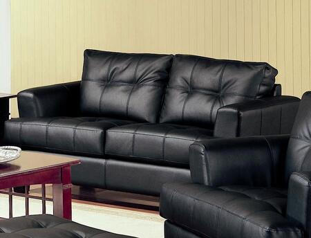"""Coaster Samuel 67"""" Stationary Loveseat with Attached Seat Cushions, Sinuous Spring Base, Jumbo Stitching and Bonded Leather Upholstery in"""