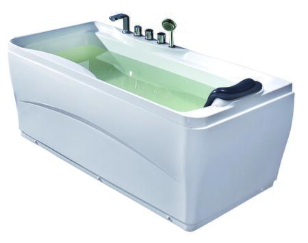"Eago EAGO Drain Acrylic 63"" Soaking Tub with Acrylic, 1 Person Capacity, Tub Filter, Hand Held Shower and  Head  Rest in White"