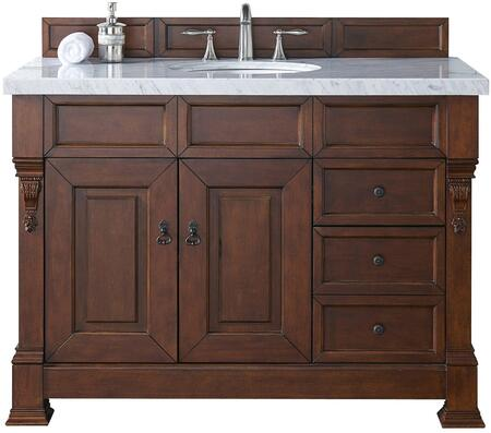 "James Martin Brookfield Collection 147-114-5286- 48"" Warm Cherry Single Vanity with Two Soft Closing Doors, Three Soft Closing Drawers, Backsplash, Hand Carved Filigrees and"