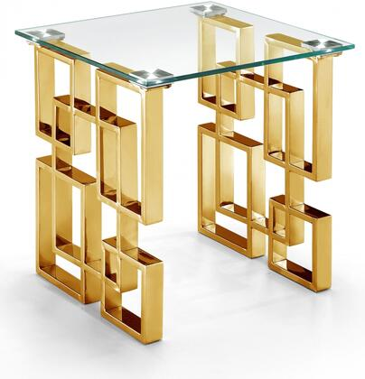 "Meridian Pierre Collection 214-TABLE 48"" Coffee Table with Rich Stainless Steel and Glass Top in Gold"