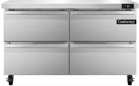 "Continental Refrigerator SWF4 48"" Worktop Freezer with 13.4 Cu. Ft. Capacity, Stainless Steel Exterior and Interior, 5"" Casters, Interior Hanging Thermometer, and Environmentally-Safe Refrigerant, in Stainless Steel"