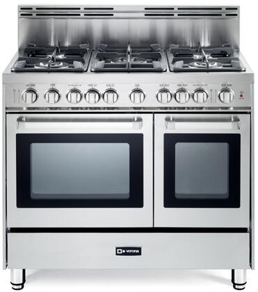 "Verona VEFSGG365NDXX 36"" Pro-Style Gas Range with 5 Sealed Burners, 2 Turbo-Electric Convection Ovens, Manual Clean, Infrared Broiler, Bell Timer and Storage Drawer in XXX"