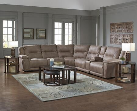 "Catnapper Montgomery Collection 1756-4-8-4-9-7- 140"" 6-Piece Sectional with Left Arm Facing Recliner, 2x Armless Chairs, Corner Wedge, Console and Right Arm Facing Recliner in"