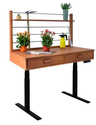 "Vifah 55"" - 82"" Sit to Stand Potting Bench with 2 Drawers, 1 Top Shelf, Adjustable Height, Powder Coating Steel Frame and Eucalyptus Hardwood Top in Natural Wood Finish"