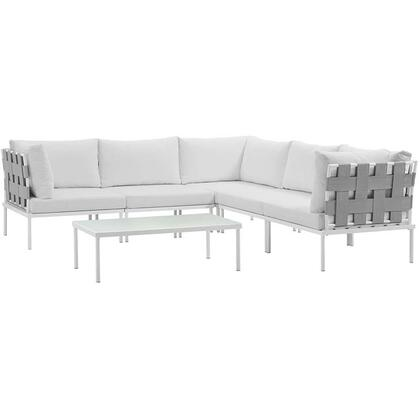 Modway Harmony Collection EEI-2627-WHI- 6-Piece Outdoor Patio Aluminum Sectional Sofa Set with Coffee Table, 3 Corner Sofas and 2 Armless Chairs in